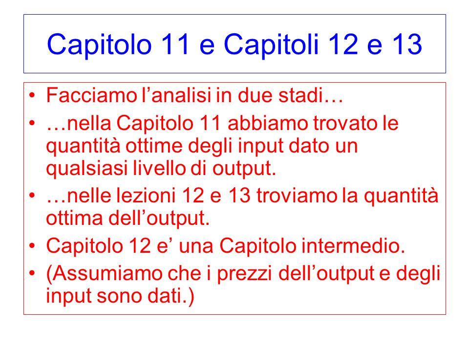 Capitolo 11 e Capitoli 12 e 13 Facciamo lanalisi in due stadi… …nella Capitolo 11 abbiamo trovato le quantità ottime degli input dato un qualsiasi liv