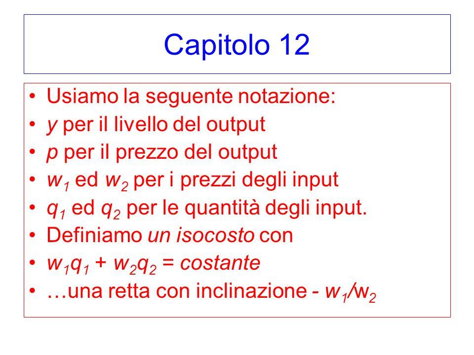 Capitolo 12 Usiamo la seguente notazione: y per il livello del output p per il prezzo del output w 1 ed w 2 per i prezzi degli input q 1 ed q 2 per le