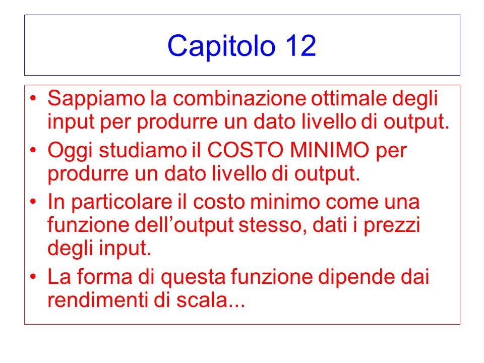Capitolo 12 Sappiamo la combinazione ottimale degli input per produrre un dato livello di output. Oggi studiamo il COSTO MINIMO per produrre un dato l