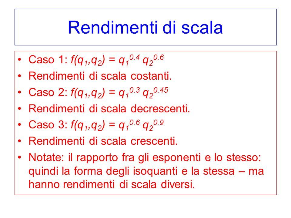 Rendimenti di scala Caso 1: f(q 1,q 2 ) = q 1 0.4 q 2 0.6 Rendimenti di scala costanti. Caso 2: f(q 1,q 2 ) = q 1 0.3 q 2 0.45 Rendimenti di scala dec