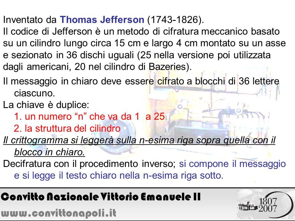 Inventato da Thomas Jefferson (1743-1826). Il codice di Jefferson è un metodo di cifratura meccanico basato su un cilindro lungo circa 15 cm e largo 4