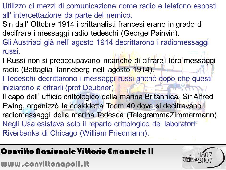 Utilizzo di mezzi di comunicazione come radio e telefono esposti all intercettazione da parte del nemico. Sin dall Ottobre 1914 i crittanalisti france