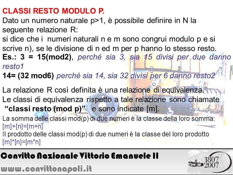 CLASSI RESTO MODULO P. Dato un numero naturale p>1, è possibile definire in N la seguente relazione R: si dice che i numeri naturali n e m sono congru