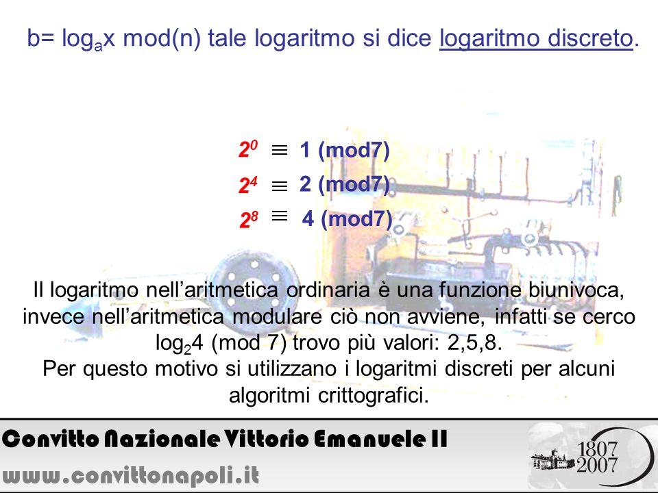 b= log a x mod(n) tale logaritmo si dice logaritmo discreto. 1 (mod7) 2020 2424 2 (mod7) 4 (mod7) 2828 Il logaritmo nellaritmetica ordinaria è una fun