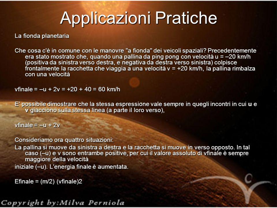 Applicazioni Pratiche La fionda planetaria Che cosa c è in comune con le manovre a fionda dei veicoli spaziali.