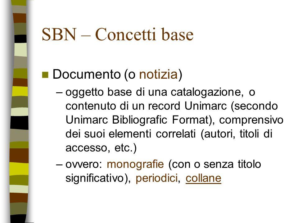 SBN – Concetti base Documento (o notizia) –oggetto base di una catalogazione, o contenuto di un record Unimarc (secondo Unimarc Bibliografic Format),