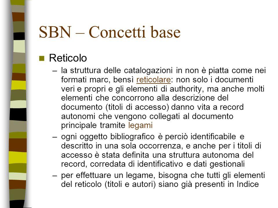 SBN – Concetti base Reticolo –la struttura delle catalogazioni in non è piatta come nei formati marc, bensì reticolare: non solo i documenti veri e pr