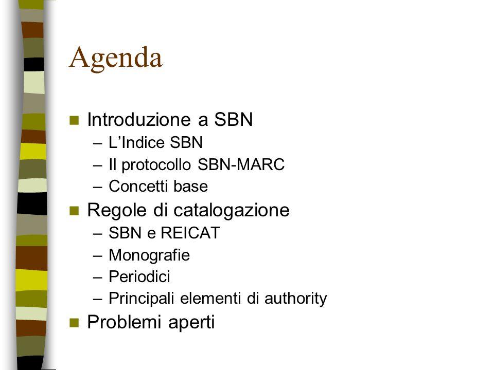 Agenda Introduzione a SBN –LIndice SBN –Il protocollo SBN-MARC –Concetti base Regole di catalogazione –SBN e REICAT –Monografie –Periodici –Principali