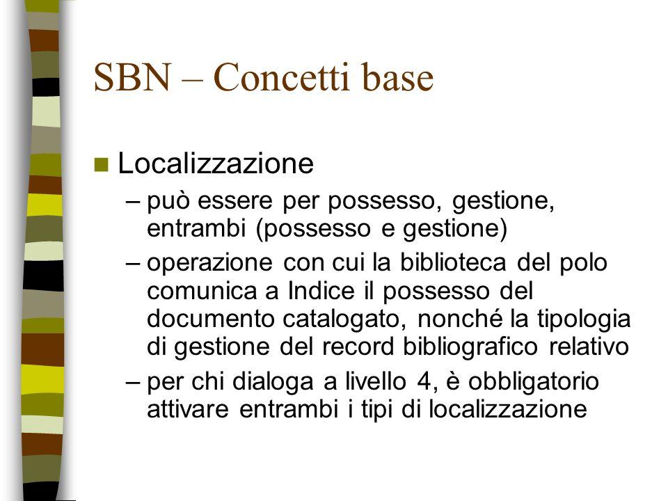 SBN – Concetti base Localizzazione –può essere per possesso, gestione, entrambi (possesso e gestione) –operazione con cui la biblioteca del polo comun