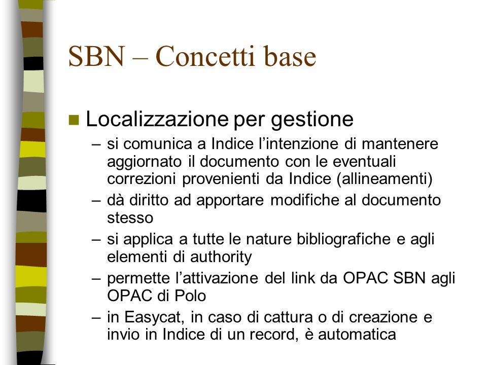 SBN – Concetti base Localizzazione per gestione –si comunica a Indice lintenzione di mantenere aggiornato il documento con le eventuali correzioni pro