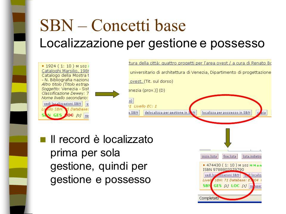 SBN – Concetti base Localizzazione per gestione e possesso Il record è localizzato prima per sola gestione, quindi per gestione e possesso