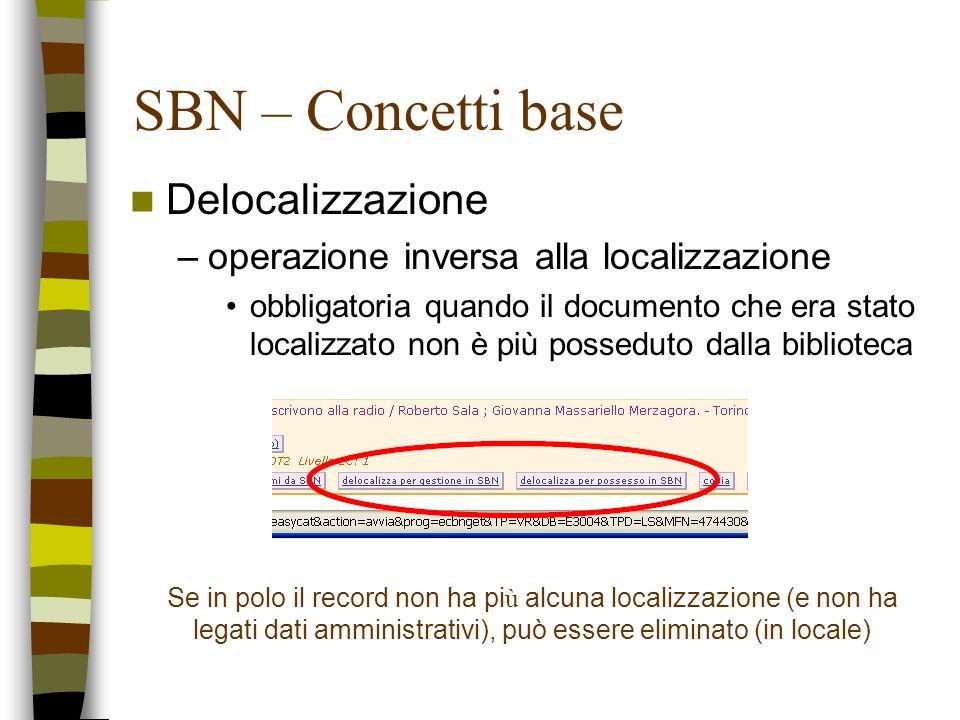 SBN – Concetti base Delocalizzazione –operazione inversa alla localizzazione obbligatoria quando il documento che era stato localizzato non è più poss