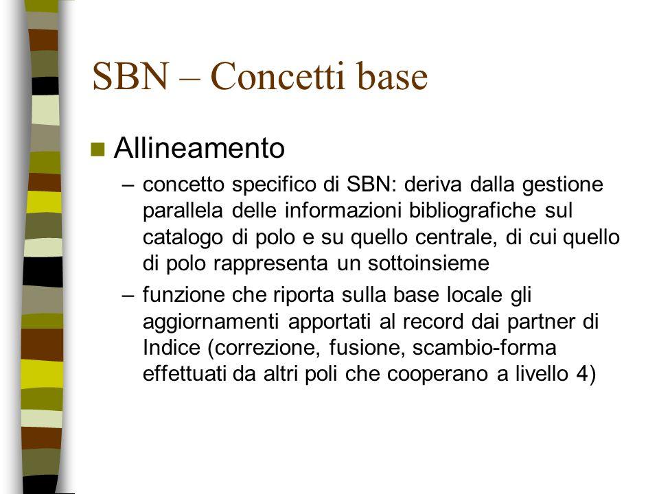 SBN – Concetti base Allineamento –concetto specifico di SBN: deriva dalla gestione parallela delle informazioni bibliografiche sul catalogo di polo e