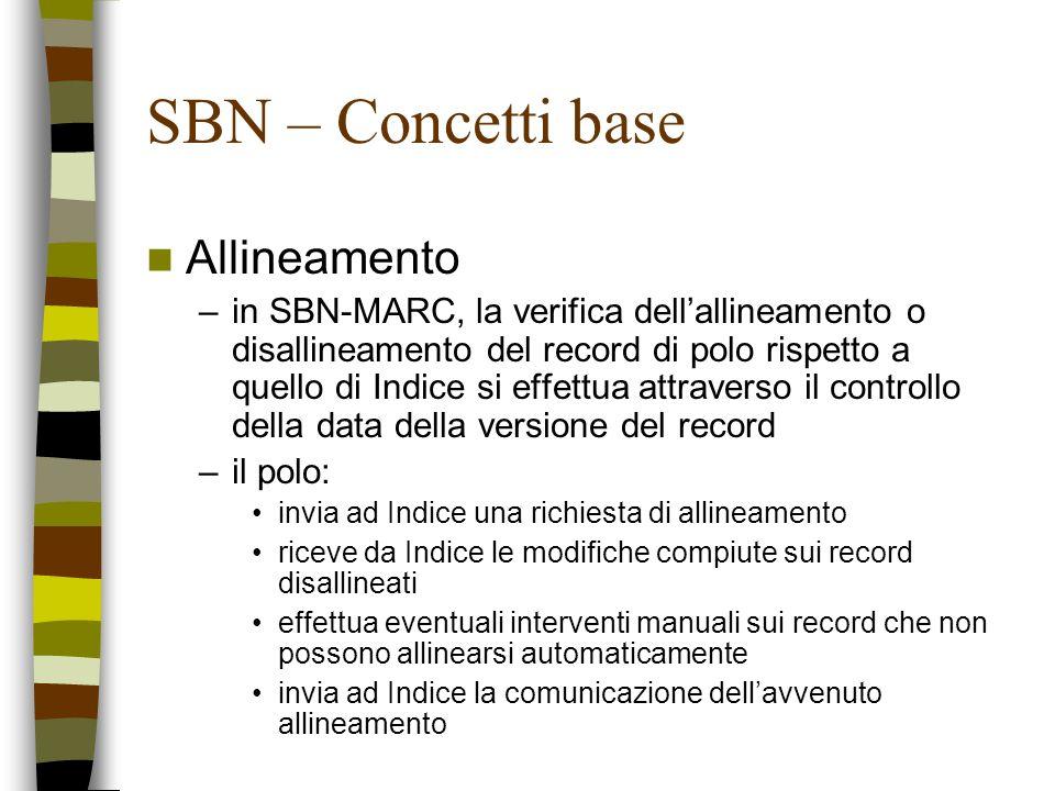 SBN – Concetti base Allineamento –in SBN-MARC, la verifica dellallineamento o disallineamento del record di polo rispetto a quello di Indice si effett