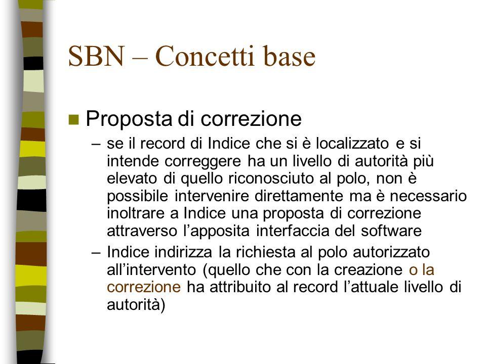 SBN – Concetti base Proposta di correzione –se il record di Indice che si è localizzato e si intende correggere ha un livello di autorità più elevato