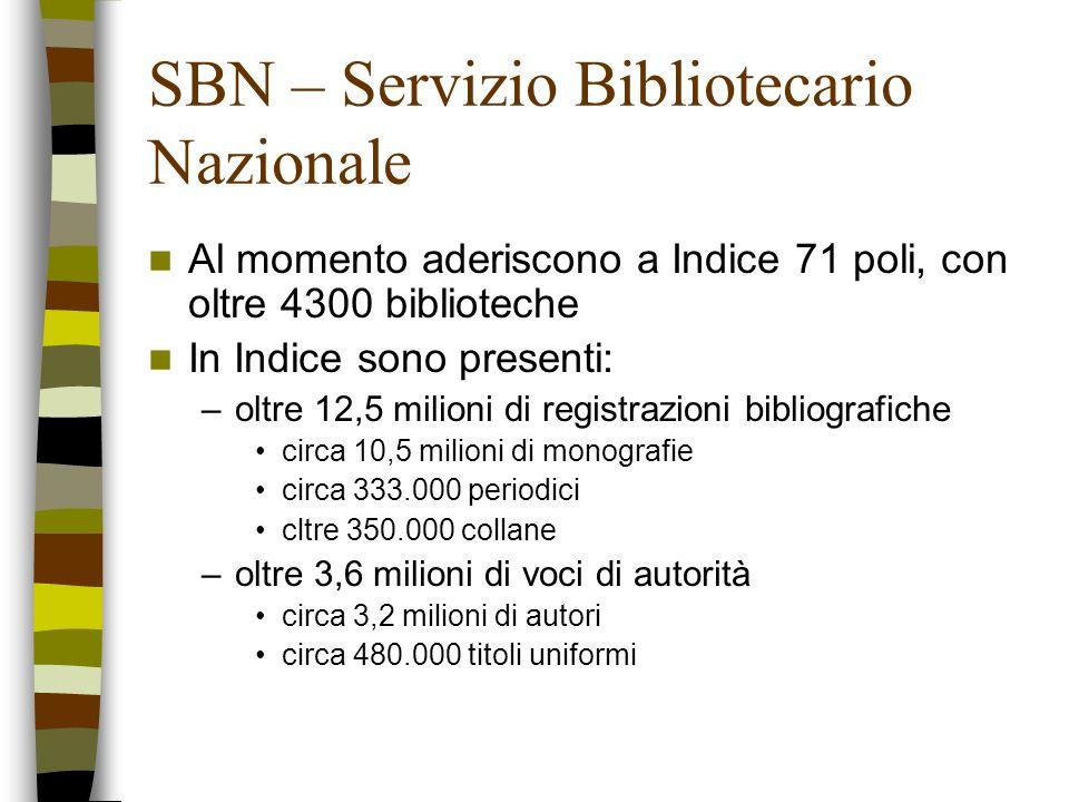 SBN – Servizio Bibliotecario Nazionale Al momento aderiscono a Indice 71 poli, con oltre 4300 biblioteche In Indice sono presenti: –oltre 12,5 milioni