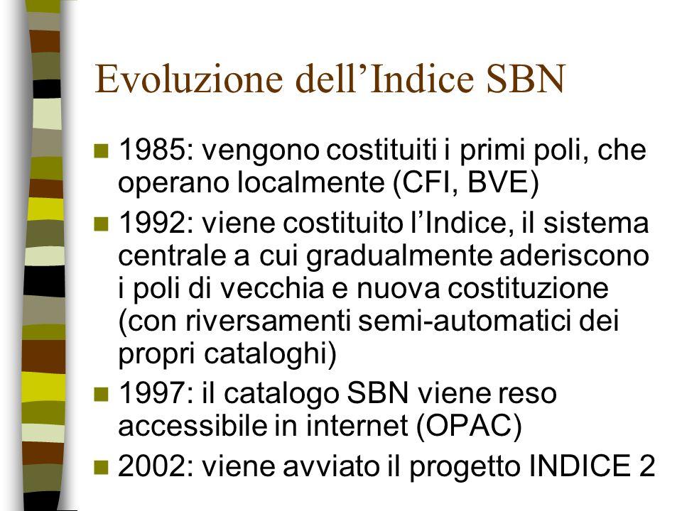 Evoluzione dellIndice SBN 1985: vengono costituiti i primi poli, che operano localmente (CFI, BVE) 1992: viene costituito lIndice, il sistema centrale