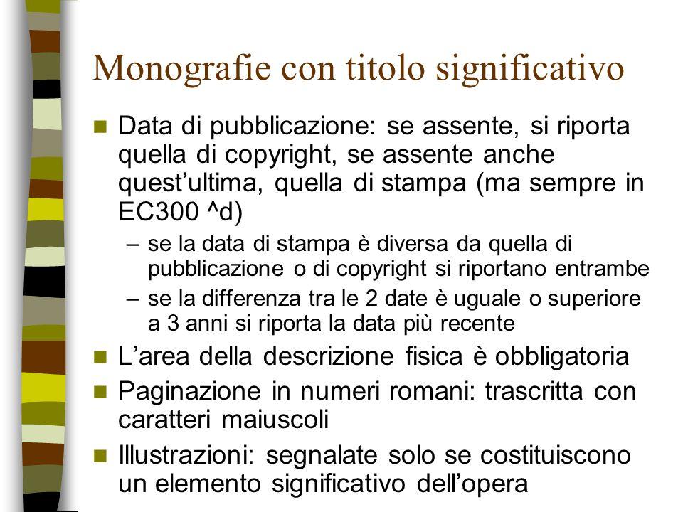 Monografie con titolo significativo Data di pubblicazione: se assente, si riporta quella di copyright, se assente anche questultima, quella di stampa