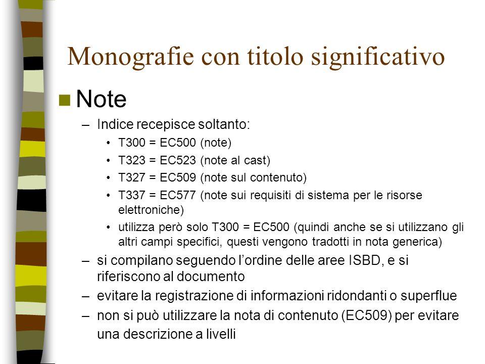 Monografie con titolo significativo Note –Indice recepisce soltanto: T300 = EC500 (note) T323 = EC523 (note al cast) T327 = EC509 (note sul contenuto)