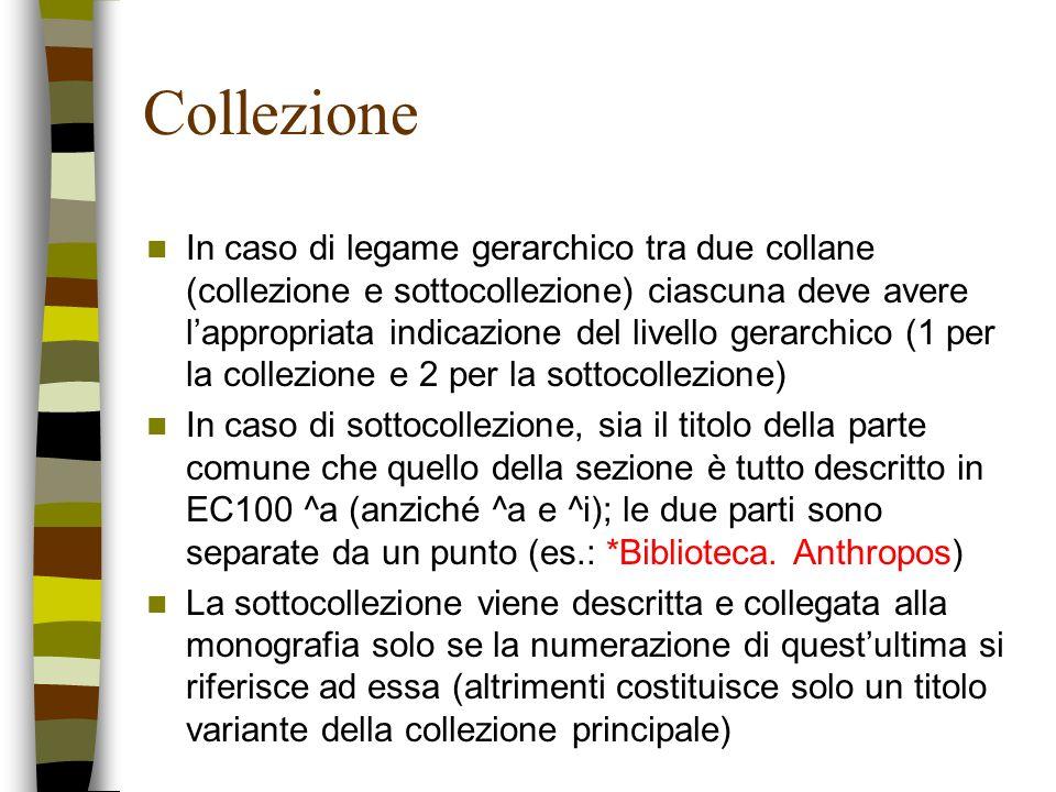 Collezione In caso di legame gerarchico tra due collane (collezione e sottocollezione) ciascuna deve avere lappropriata indicazione del livello gerarc