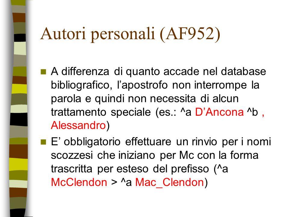 Autori personali (AF952) A differenza di quanto accade nel database bibliografico, lapostrofo non interrompe la parola e quindi non necessita di alcun