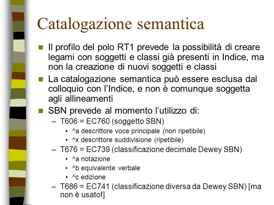 Catalogazione semantica Il profilo del polo RT1 prevede la possibilità di creare legami con soggetti e classi già presenti in Indice, ma non la creazi