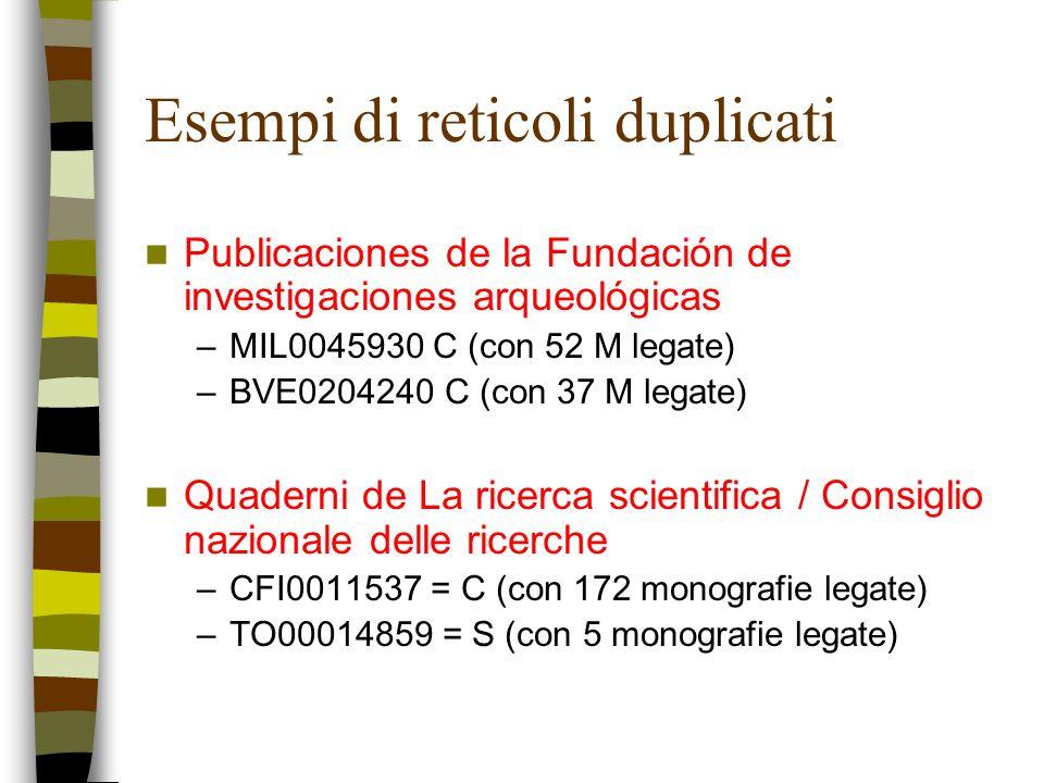 Esempi di reticoli duplicati Publicaciones de la Fundación de investigaciones arqueológicas –MIL0045930 C (con 52 M legate) –BVE0204240 C (con 37 M le