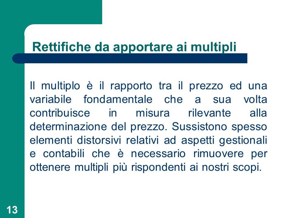 13 Rettifiche da apportare ai multipli Il multiplo è il rapporto tra il prezzo ed una variabile fondamentale che a sua volta contribuisce in misura ri
