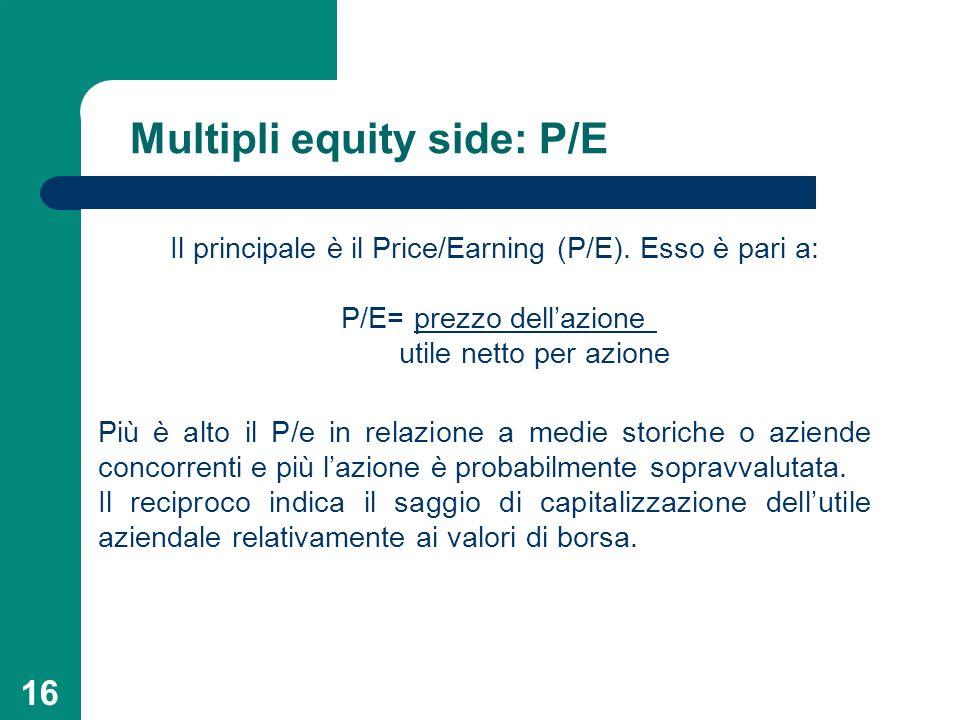 16 Multipli equity side: P/E Il principale è il Price/Earning (P/E). Esso è pari a: P/E= prezzo dellazione utile netto per azione Più è alto il P/e in