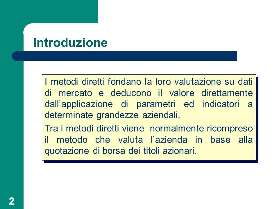 2 Introduzione I metodi diretti fondano la loro valutazione su dati di mercato e deducono il valore direttamente dallapplicazione di parametri ed indi