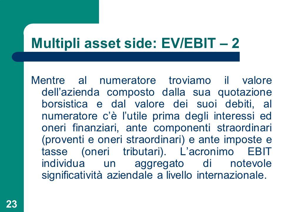 23 Multipli asset side: EV/EBIT – 2 Mentre al numeratore troviamo il valore dellazienda composto dalla sua quotazione borsistica e dal valore dei suoi