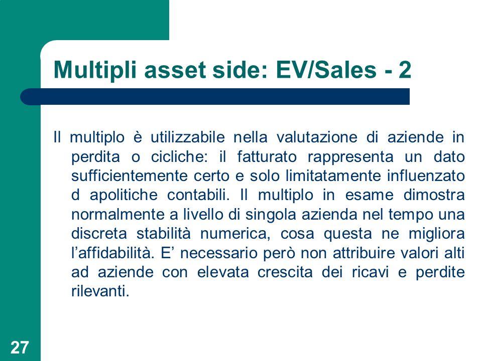 27 Multipli asset side: EV/Sales - 2 Il multiplo è utilizzabile nella valutazione di aziende in perdita o cicliche: il fatturato rappresenta un dato s