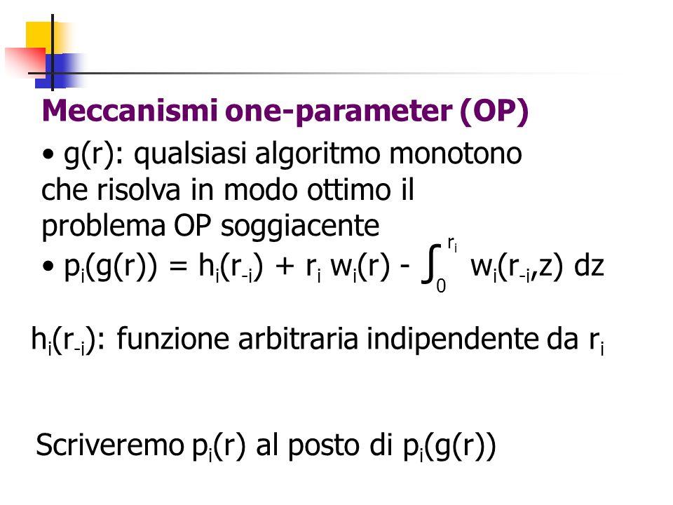 Meccanismi one-parameter (OP) g(r): qualsiasi algoritmo monotono che risolva in modo ottimo il problema OP soggiacente p i (g(r)) = h i (r -i ) + r i w i (r) - w i (r -i,z) dz 0 riri h i (r -i ): funzione arbitraria indipendente da r i Scriveremo p i (r) al posto di p i (g(r))