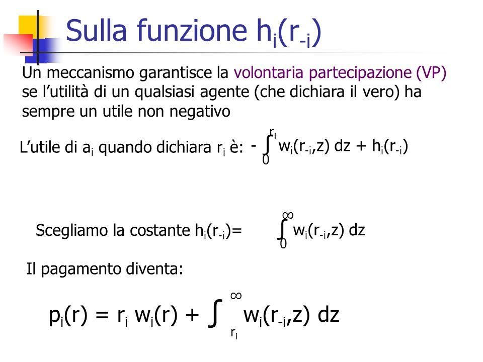 Sulla funzione h i (r -i ) Un meccanismo garantisce la volontaria partecipazione (VP) se lutilità di un qualsiasi agente (che dichiara il vero) ha sempre un utile non negativo Lutile di a i quando dichiara r i è: - w i (r -i,z) dz + h i (r -i ) 0 riri Scegliamo la costante h i (r -i )= w i (r -i,z) dz 0 p i (r) = r i w i (r) + w i (r -i,z) dz riri Il pagamento diventa: