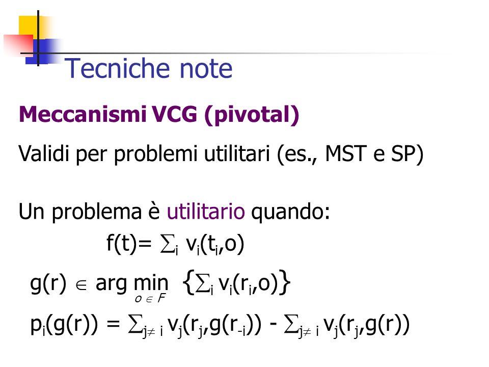 Tecniche note Un problema è utilitario quando: f(t)= i v i (t i,o) Meccanismi VCG (pivotal) Validi per problemi utilitari (es., MST e SP) g(r) arg min { i v i (r i,o) } p i (g(r)) = j i v j (r j,g(r -i )) - j i v j (r j,g(r)) o F