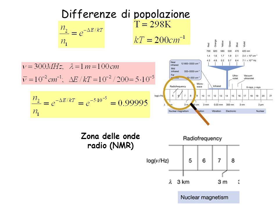 Differenze di popolazione Zona delle onde radio (NMR)