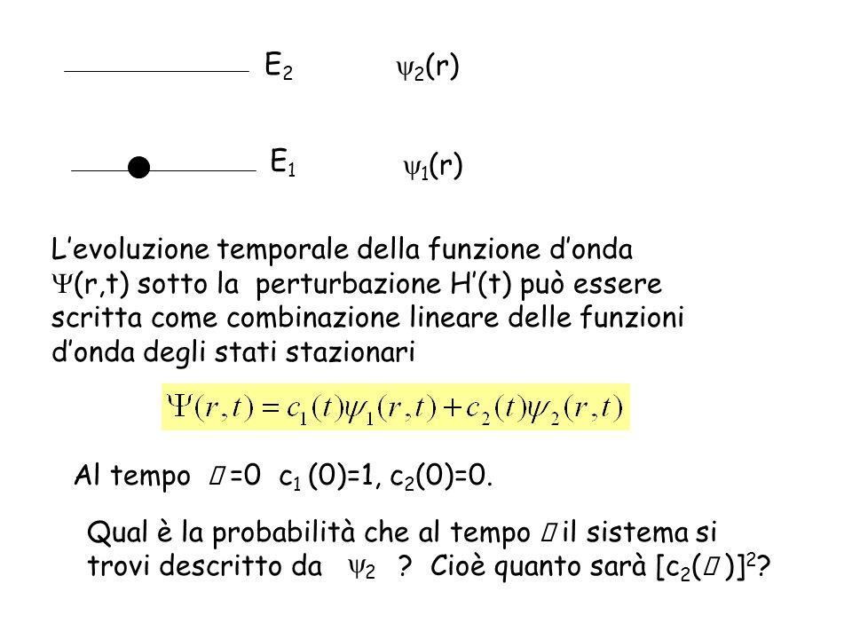 Sviluppando la trattazione con la teoria delle perturbazioni dipendenti dal tempo si trova che, se il sistema è soggetto ad una perturbazione con dipendenza armonica dal tempo, la probabilità di trovare il sistema nello stato 2 cambia nel tempo con velocità costante W 12: coefficiente di Einstein dellassorbimento stimolato dalla radiazione densità di energia della radiazione alla frequenza di transizione E1E1 E2E2 E Frequenza di transizione = E/h