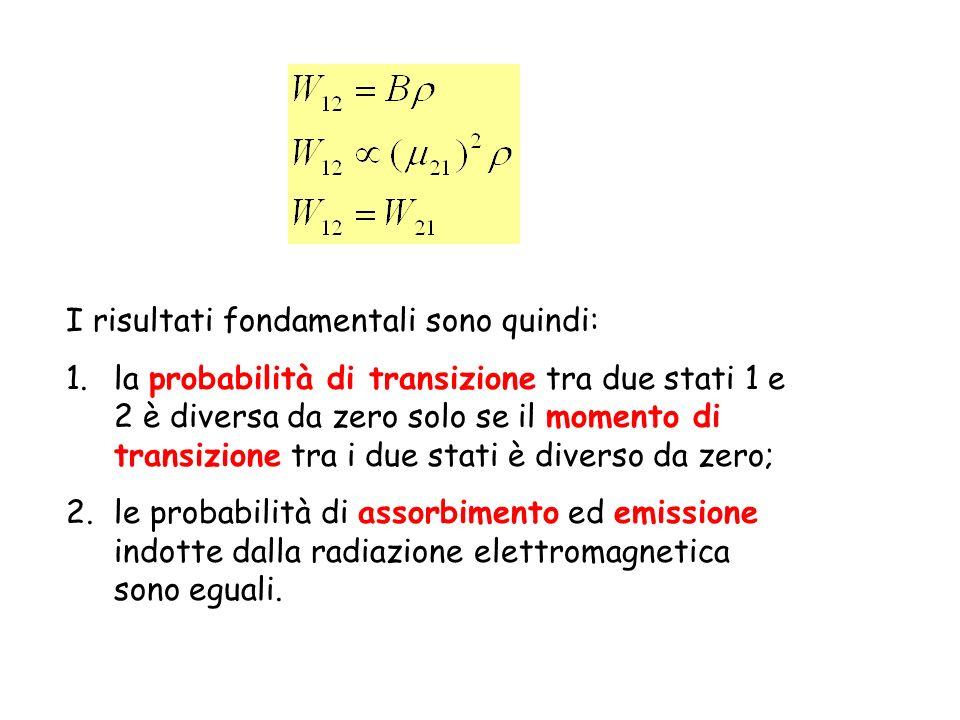 Probabilità di transizione indotta dalla radiazione elettromagnetica E1E1 E2E2 E1E1 E2E2 E1E1 E2E2 h h E1E1 E2E2 Assorbimento indotto dalla radiazione W 12 h h Emissione indotta dalla radiazione W 21
