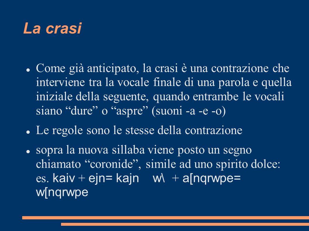 Come già anticipato, la crasi è una contrazione che interviene tra la vocale finale di una parola e quella iniziale della seguente, quando entrambe le