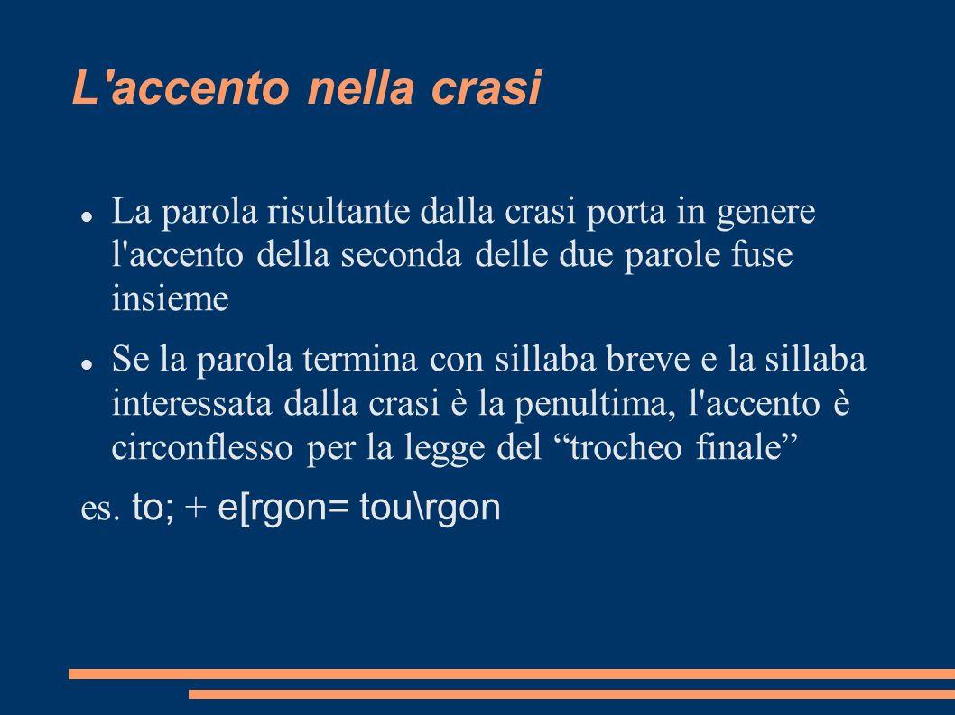 L'accento nella crasi La parola risultante dalla crasi porta in genere l'accento della seconda delle due parole fuse insieme Se la parola termina con