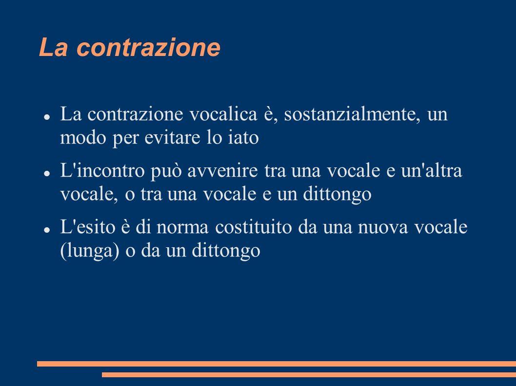 La contrazione La contrazione vocalica è, sostanzialmente, un modo per evitare lo iato L'incontro può avvenire tra una vocale e un'altra vocale, o tra