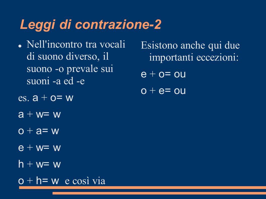 Leggi di contrazione-2 Nell'incontro tra vocali di suono diverso, il suono -o prevale sui suoni -a ed -e es. a + o= w a + w= w o + a= w e + w= w h + w