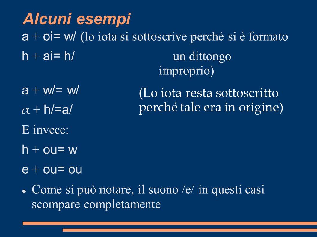 Alcuni esempi a + oi= w/ (lo iota si sottoscrive perché si è formato h + ai= h/ un dittongo improprio) a + w/= w/ α + h/=a/ E invece: h + ou= w e + ou