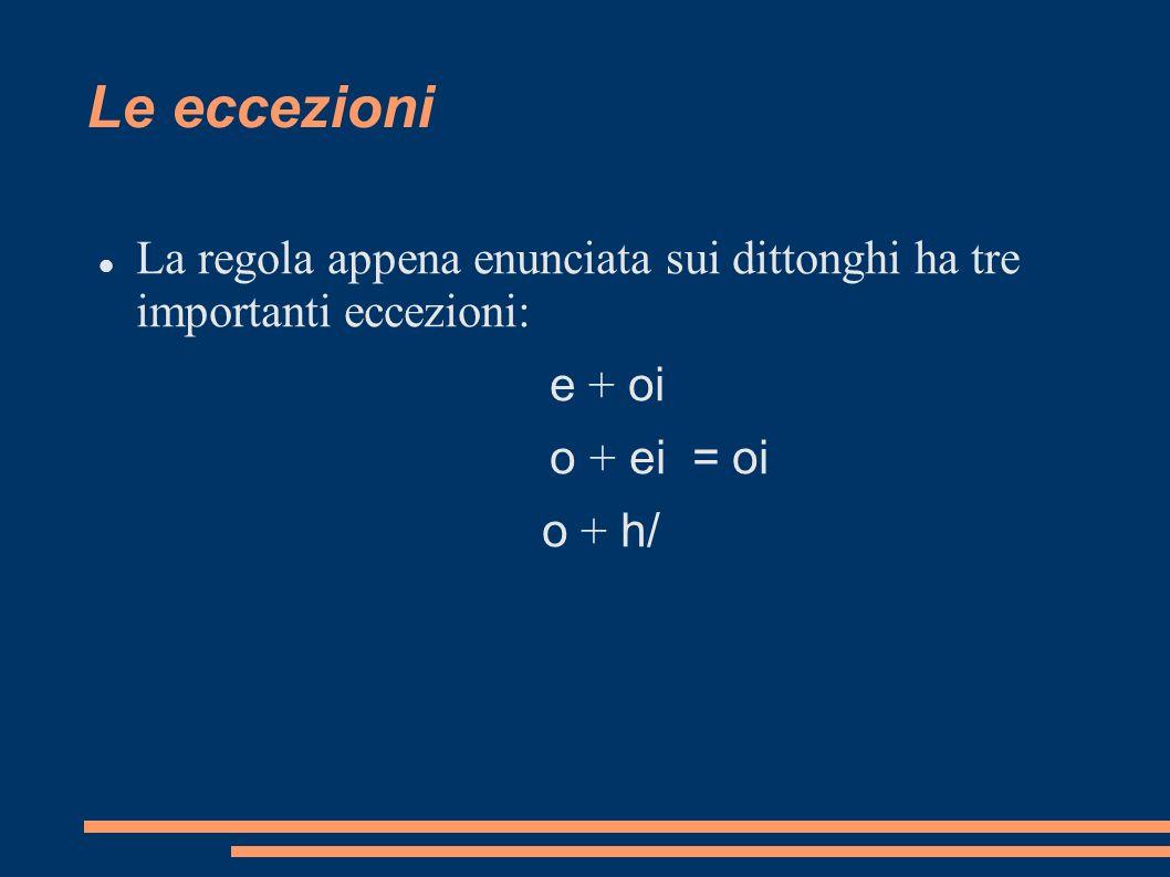 Le eccezioni La regola appena enunciata sui dittonghi ha tre importanti eccezioni: e + oi o + ei = oi o + h/