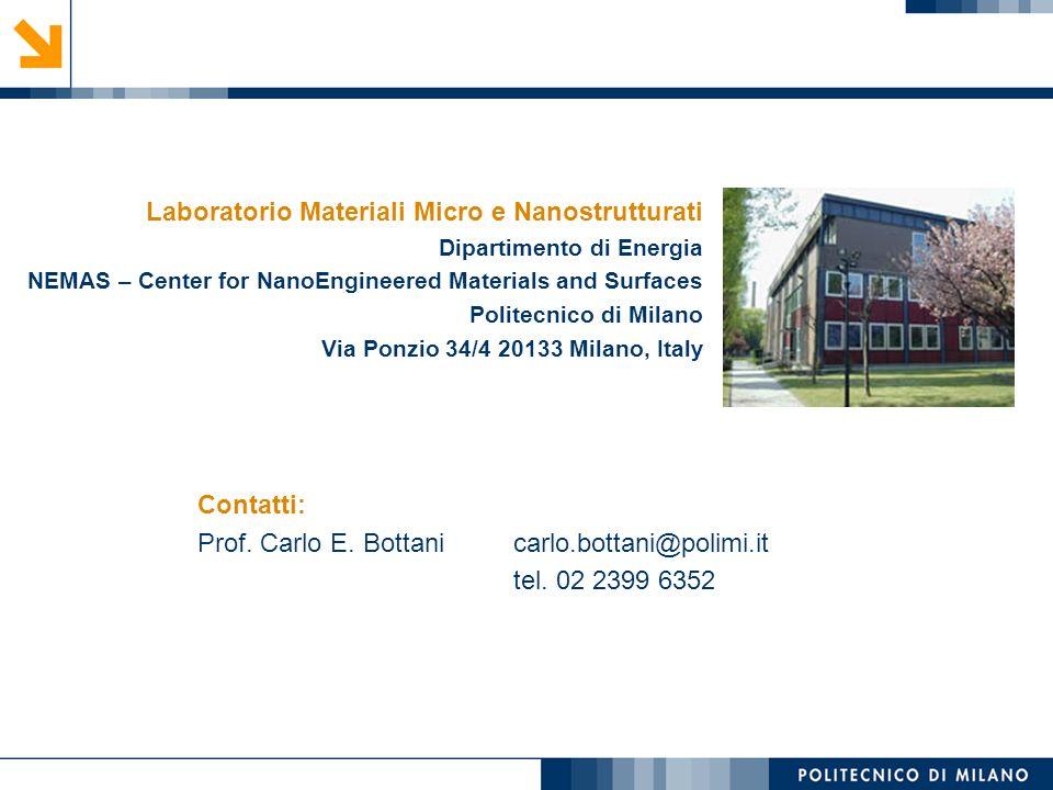 Contatti: Prof. Carlo E. Bottani carlo.bottani@polimi.it tel. 02 2399 6352 Laboratorio Materiali Micro e Nanostrutturati Dipartimento di Energia NEMAS