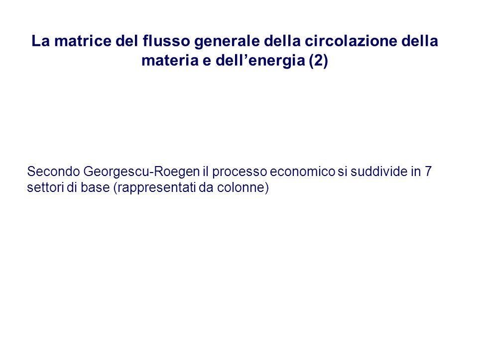 La matrice del flusso generale della circolazione della materia e dellenergia (2) Secondo Georgescu-Roegen il processo economico si suddivide in 7 set