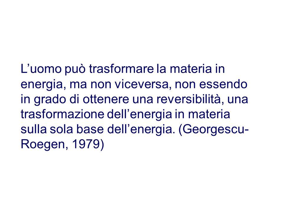 Il concetto di materia netta/energia netta Nella visione di Georgescu-Roegen ogni ragionamento sullenergia dovrebbe essere abbinato alla nozione di materia netta.