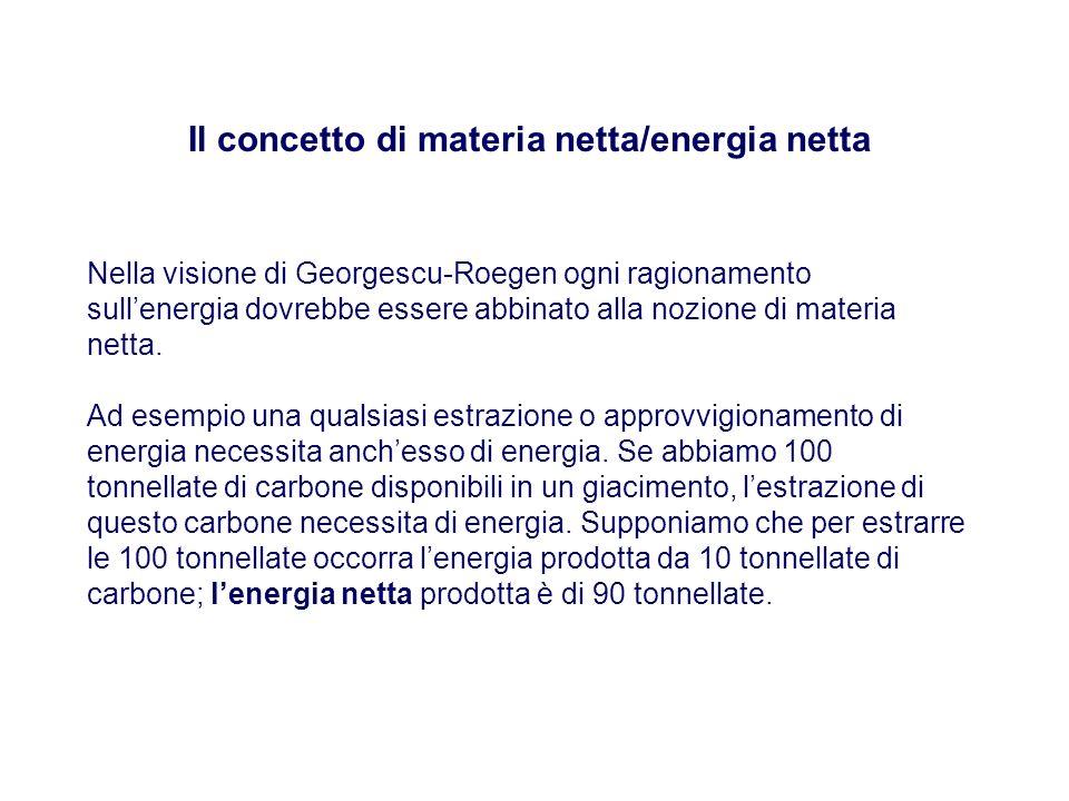 Il concetto di materia netta/energia netta Nella visione di Georgescu-Roegen ogni ragionamento sullenergia dovrebbe essere abbinato alla nozione di ma