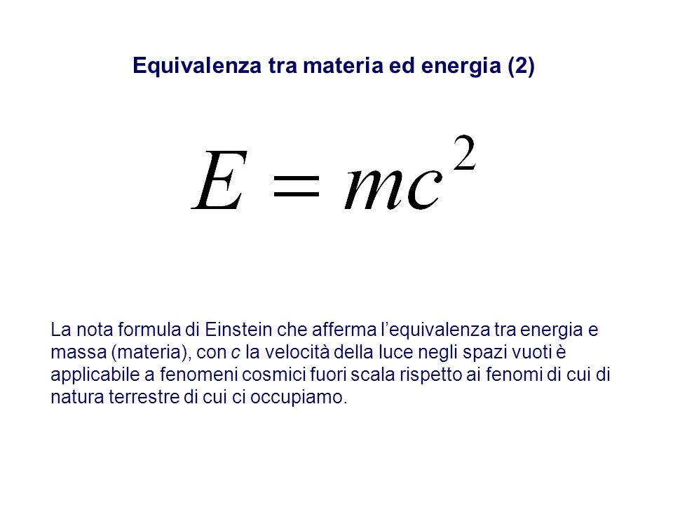 Equivalenza tra materia ed energia (2) La nota formula di Einstein che afferma lequivalenza tra energia e massa (materia), con c la velocità della luc