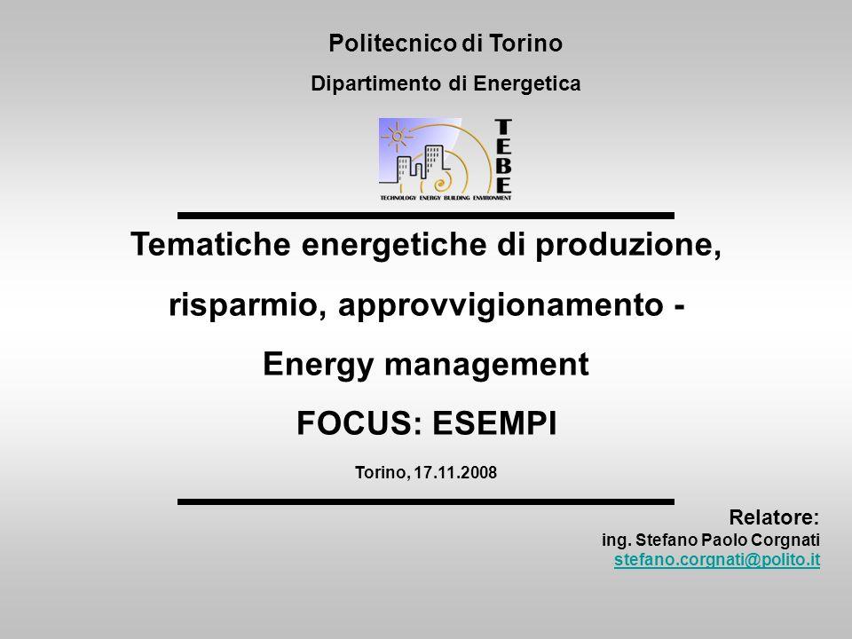 Relatore: ing. Stefano Paolo Corgnati stefano.corgnati@polito.it Politecnico di Torino Dipartimento di Energetica Tematiche energetiche di produzione,
